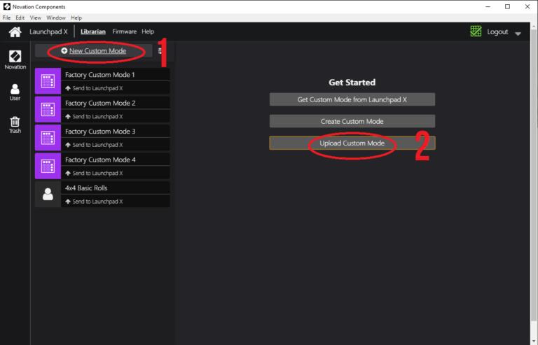 Novation components select custom mode